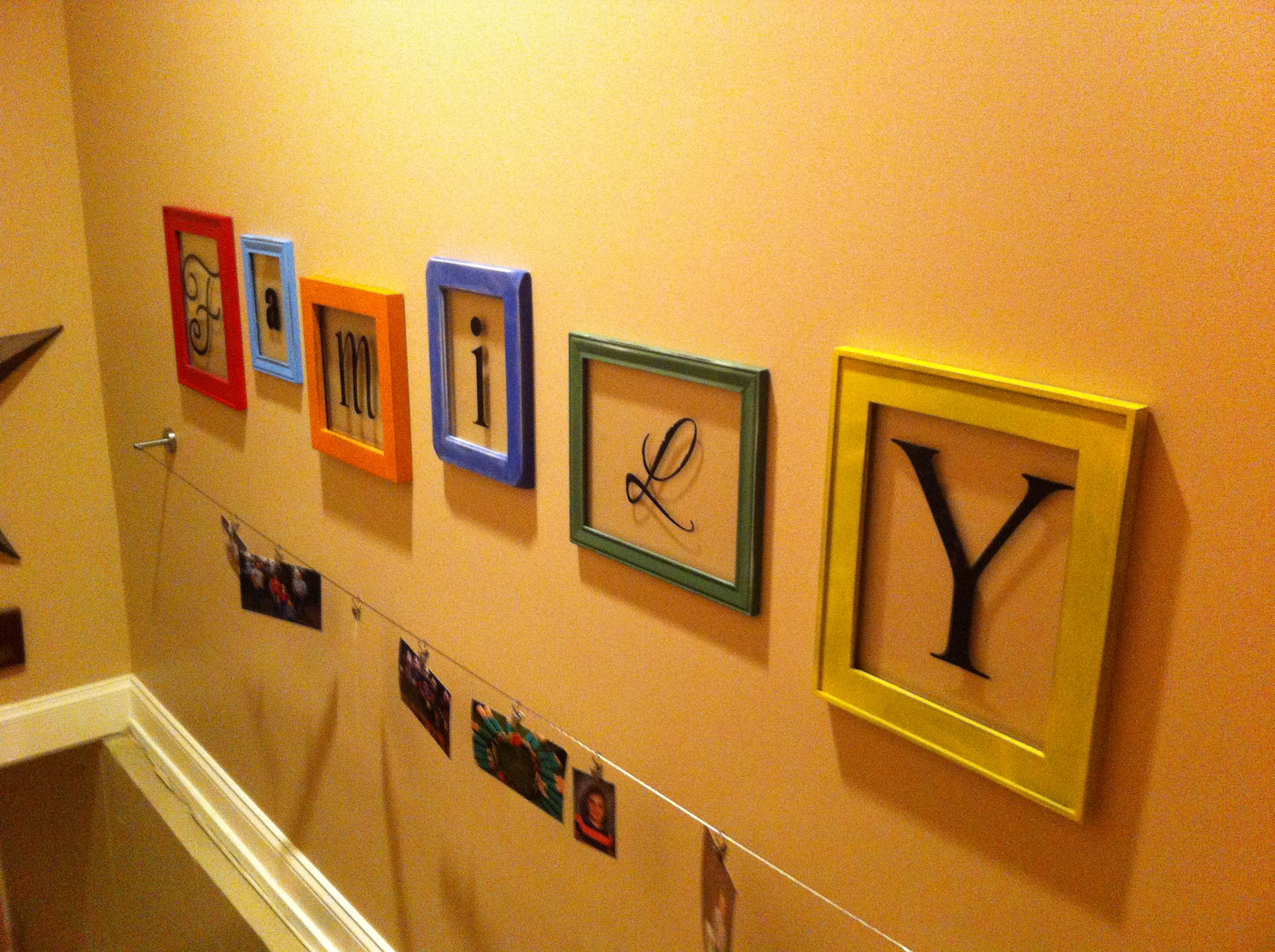 Basement stairwell. Ikea display wire for my pictures and Family in ...