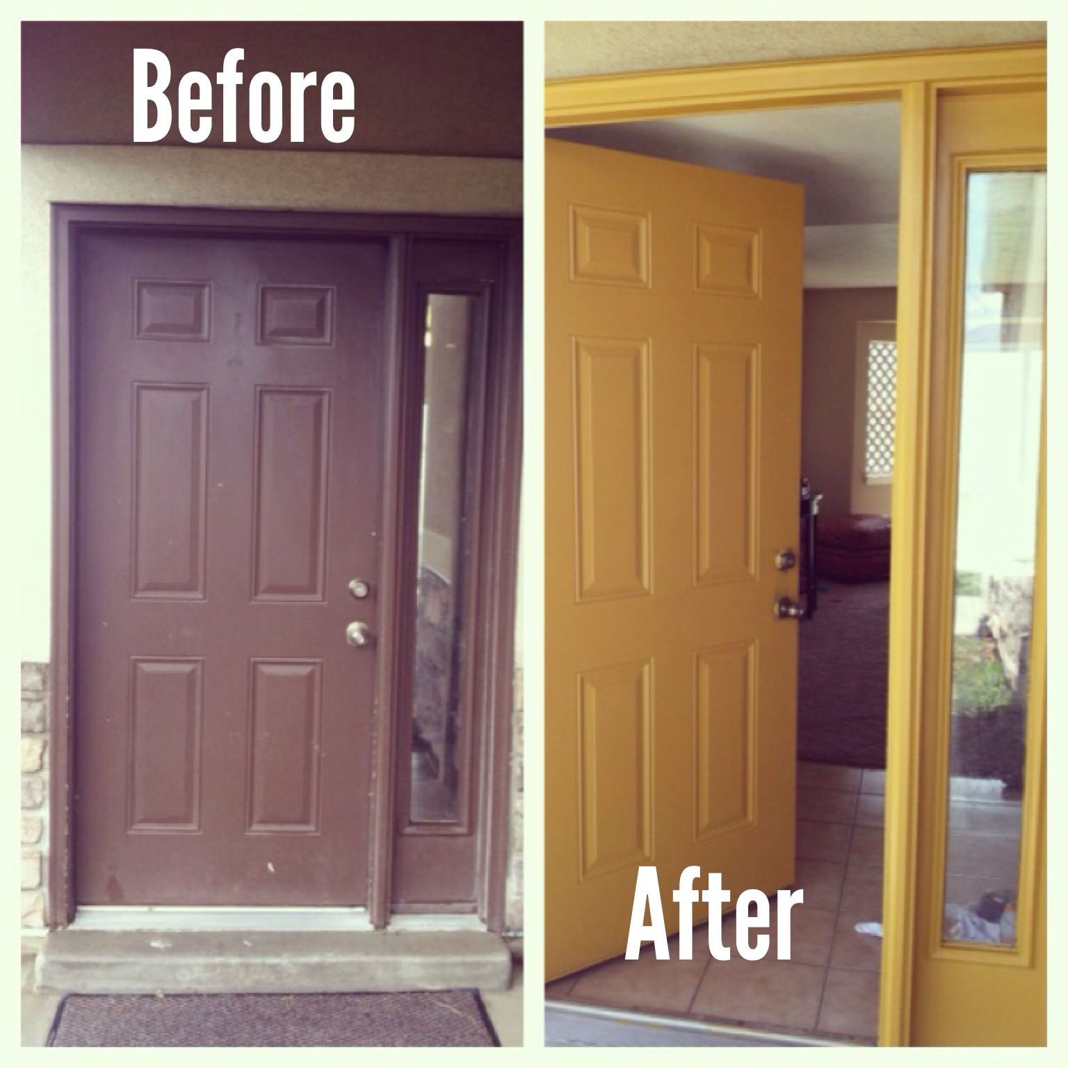 I Painted My Plain Brown Door With A Behrmarquee Semigloss Paint Color Called Light Copper It Transformed My F Yellow Front Doors House Colors Painted Doors
