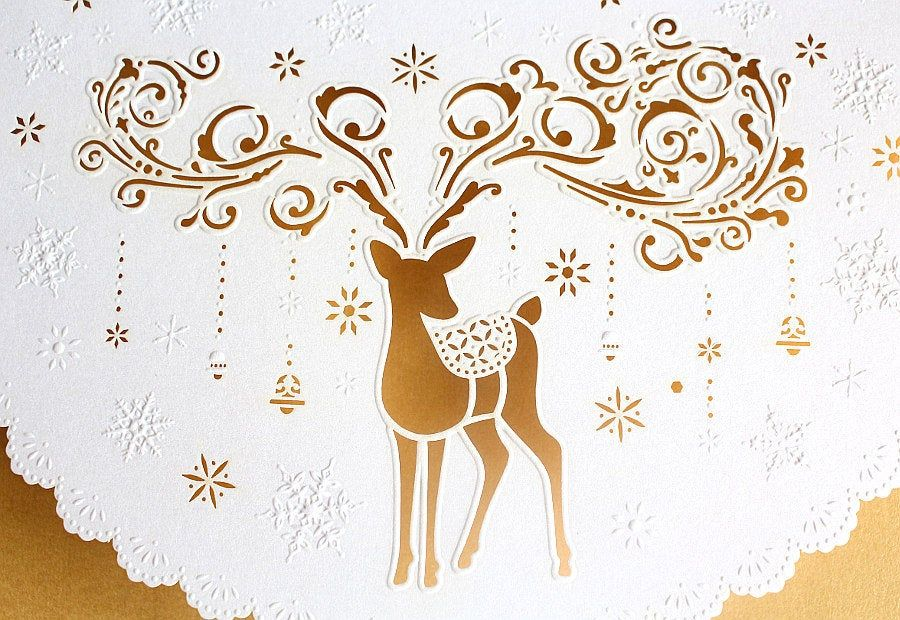 Weihnachtskarte Laser Grusskarte Reh Hirsch Renntier Inkl Einleger
