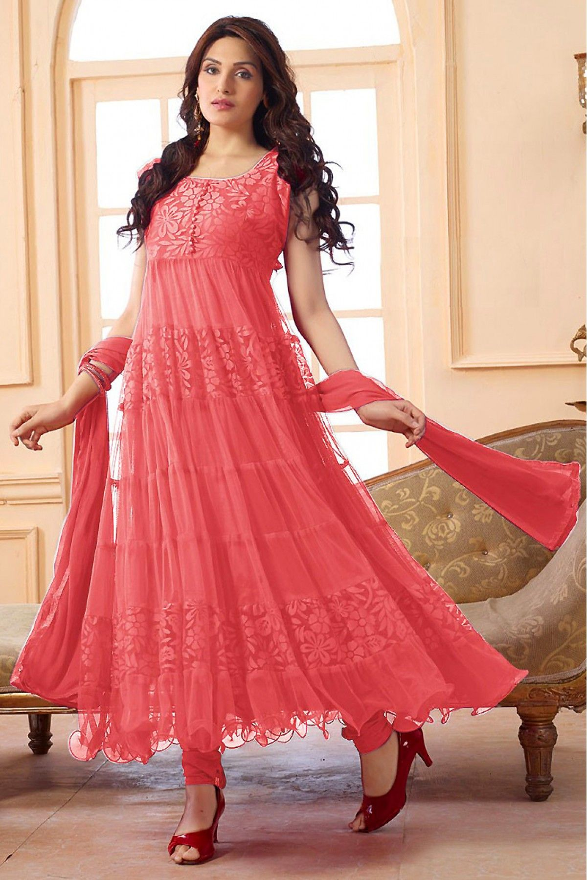 bb17891072004 Enter with your desired ethnic look at this weekend get together. Get a  fresh and graceful look with this gorgeous salwar kameez. Beautiful Peach  Colored ...