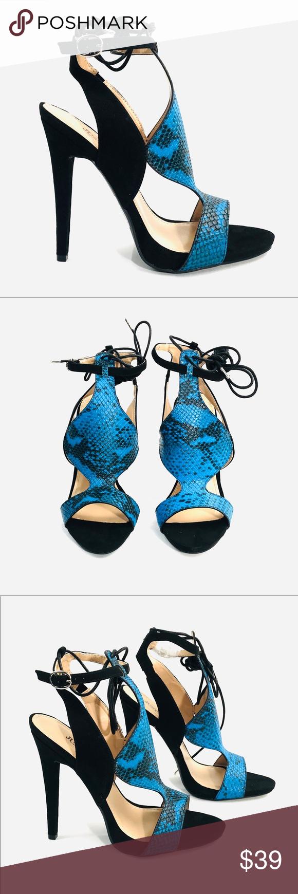 d37afb50300 Blue Snake Print Strappy Heels Blue Snake Print Strappy Heels Buckles at  the ankle and ties