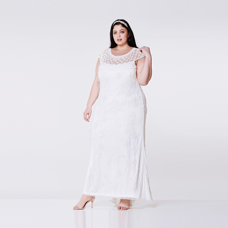 US16 UK20 AUS20 EU48 Plus Größe Hochzeit Empfang Kleid Off White ...