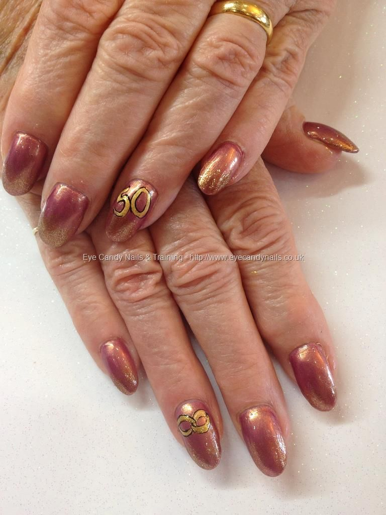 50th Golden Wedding Anniversary Nails With Freehand Nail Art