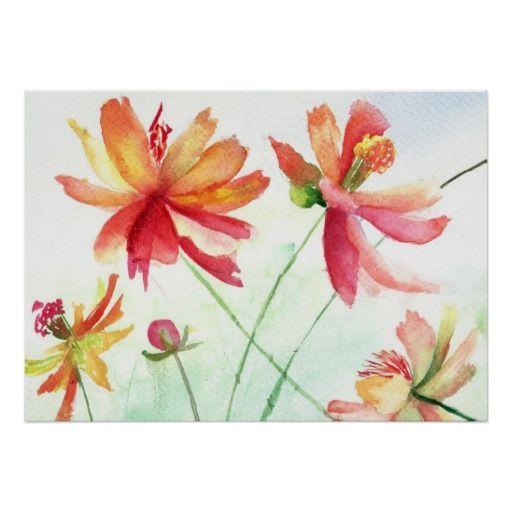 Watercolor pink, yellow flowers custom poster. #poster, #watercolor, #flowers