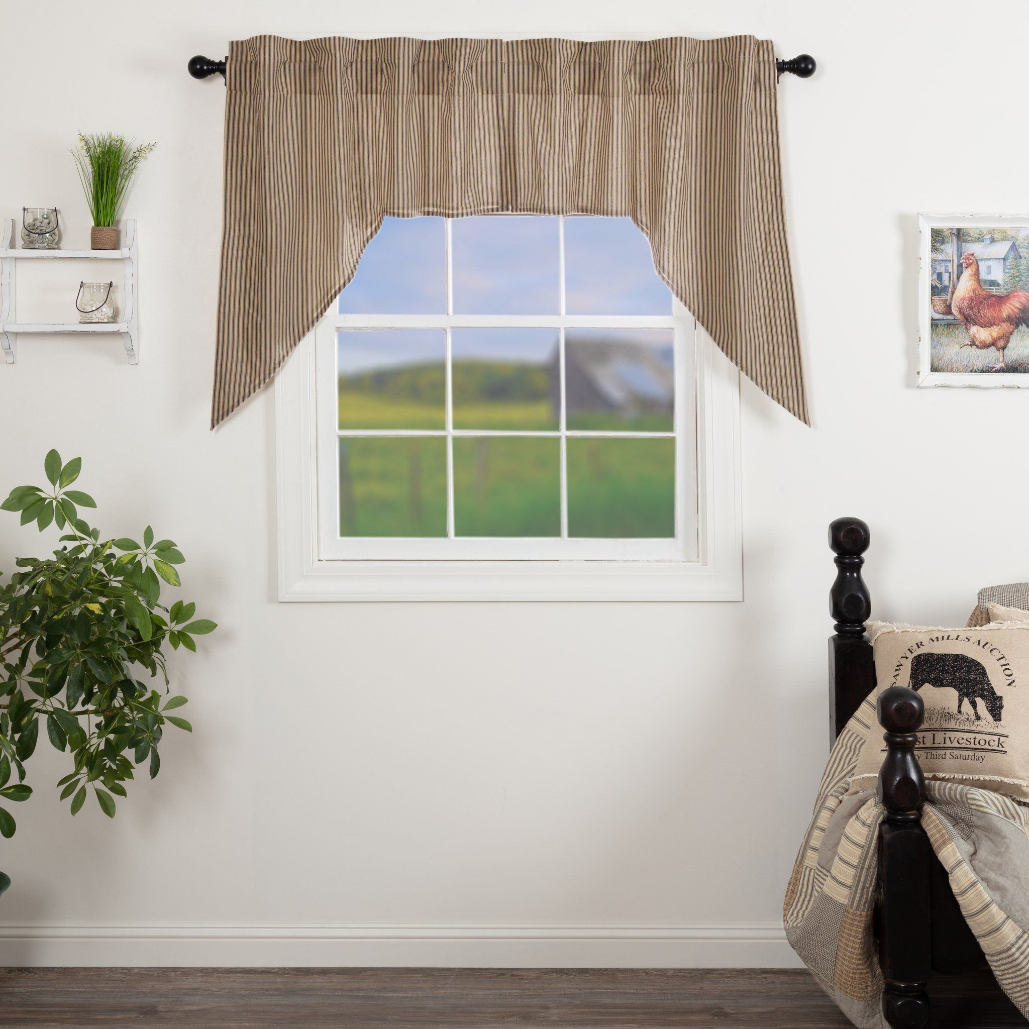 Black Check Scalloped Window Swag Set of 2 by VHC Brands Lined