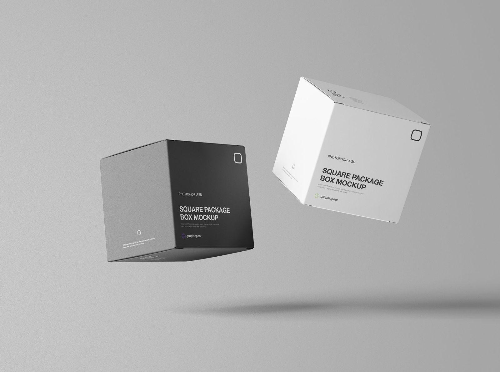 Square Package Box Mockup In 2021 Box Mockup Box Packaging Mockup