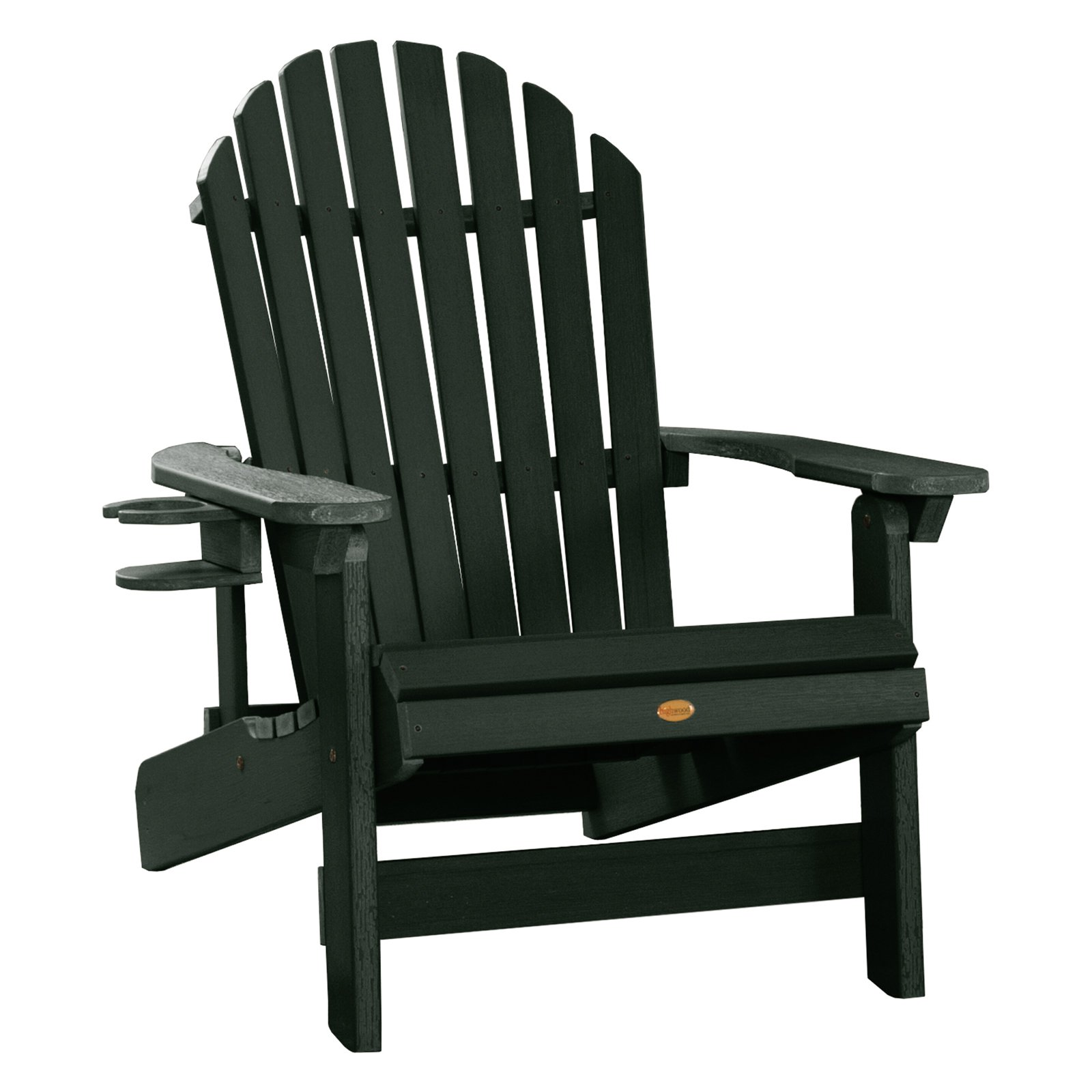 Outdoor highwood usa king hamilton folding and reclining adirondack chair with cup holder charleston green