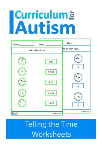 Telling the Time Worksheets, Autism, Special Education, ABA ...