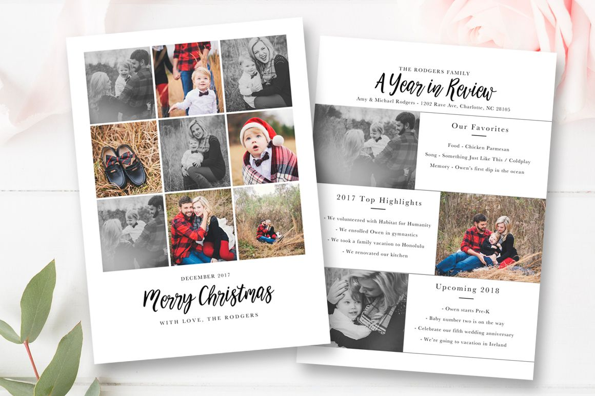 Year In Review Christmas Card Template 5x7 Photo Card By Stephanie Design Christmas Card Template Card Template Christmas Cards