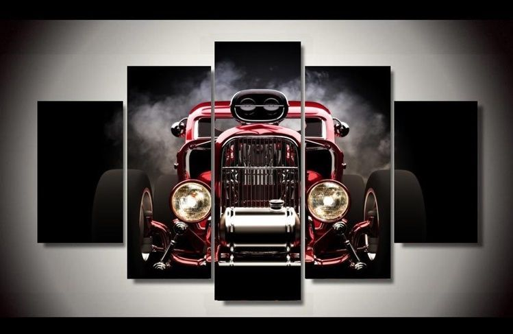 Frame Picture Hot Rod Red Front View Wheels Photo Wall Art Painting ...