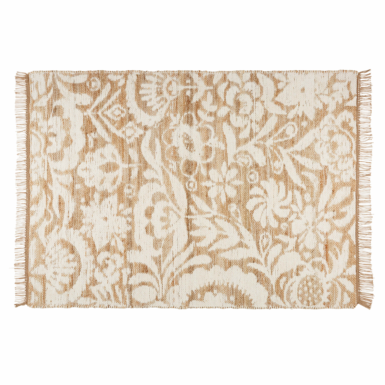 Teppich Aus Jute Und Weisser Baumwolle 140x200cm Tapis Jute Coton Blanc Tapis