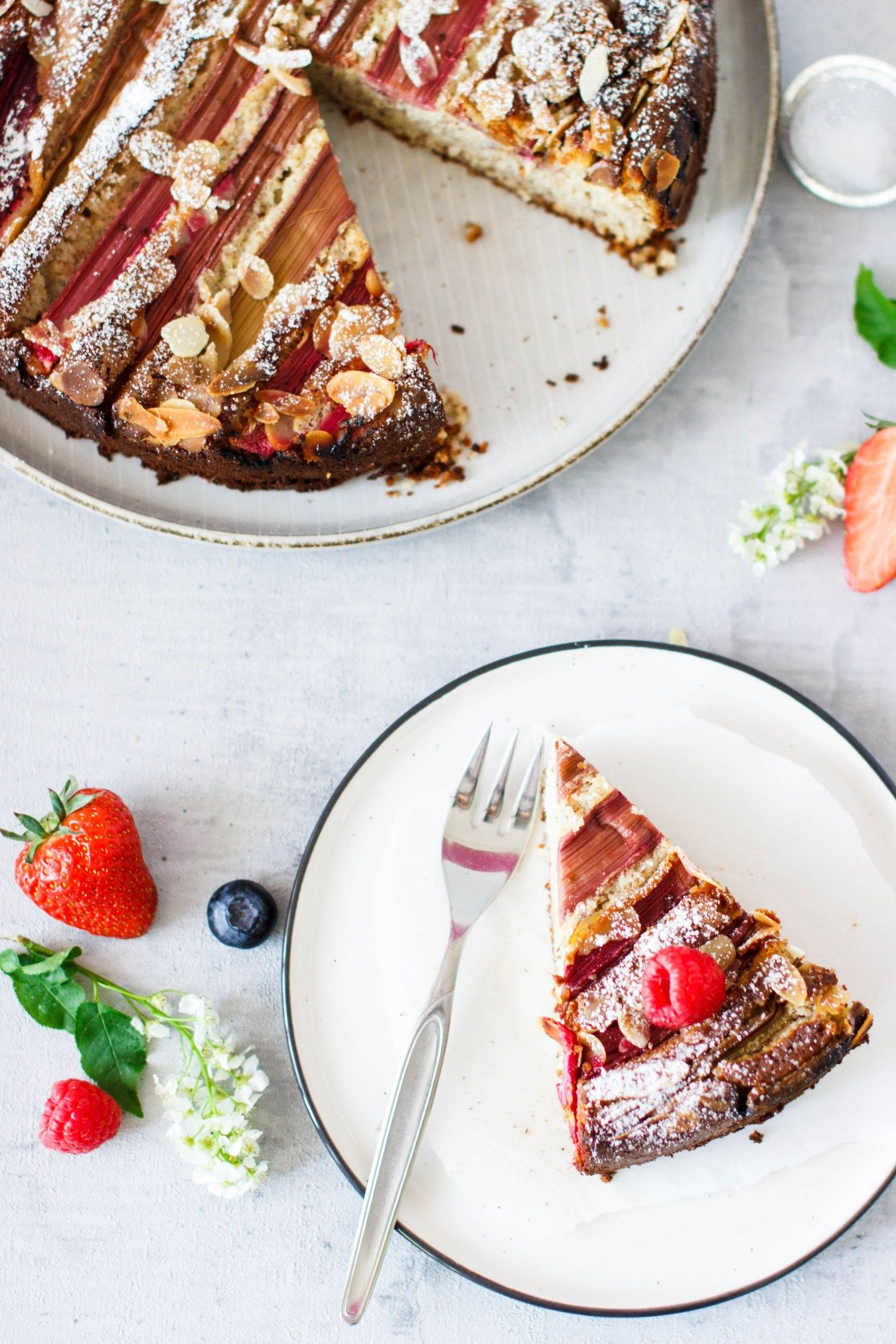 Mandel Ricotta Kuchen Mit Rhabarber Rezept Rezepte Lebensmittel Essen Rhabarber
