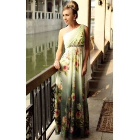 Sheath/ Column One Shoulder Floor-length Chiffon Elastic Silk-like Satin Evening Dress