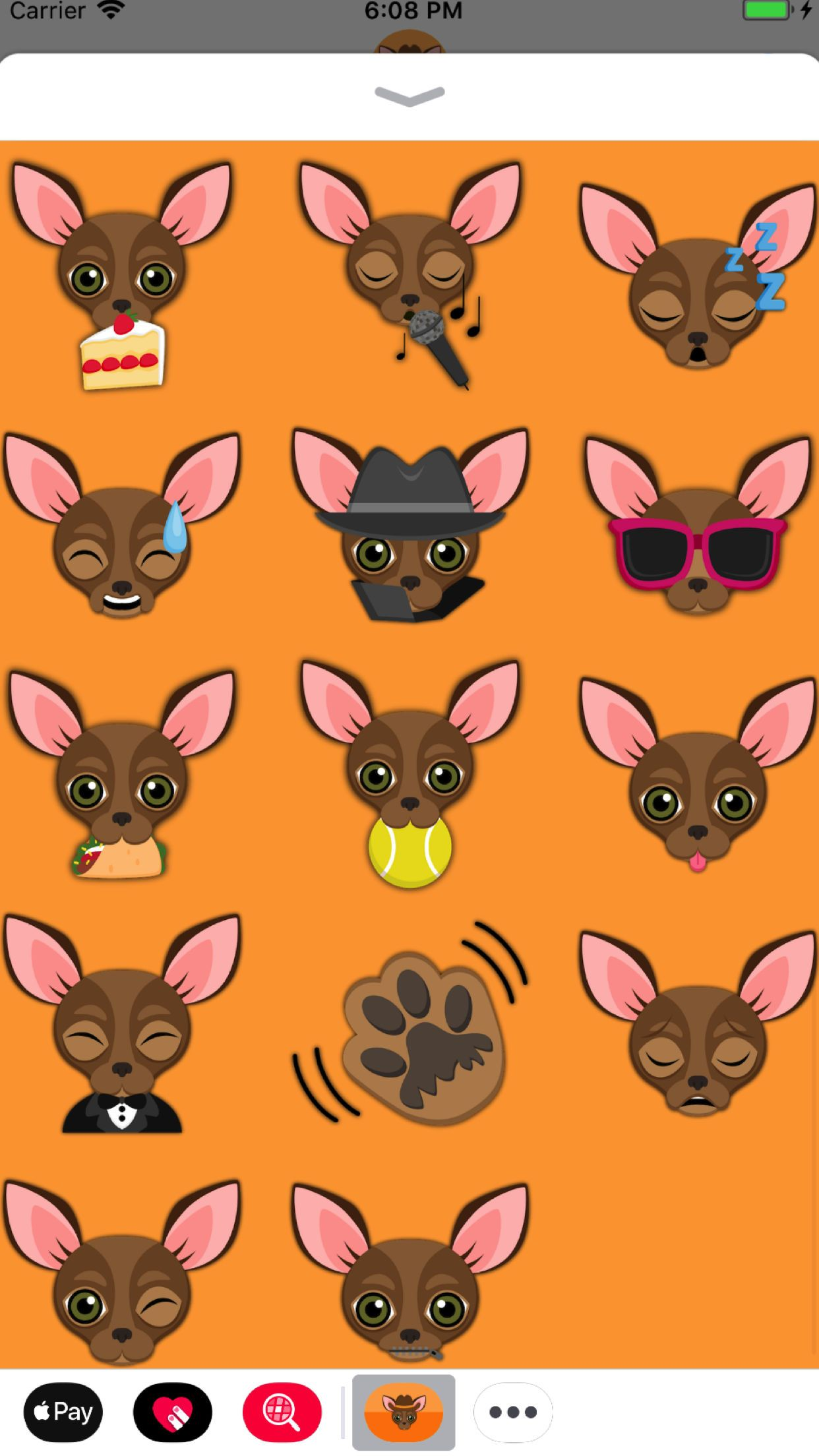 Chocolate Chihuahua Emoji Stickers for iMessage lets you