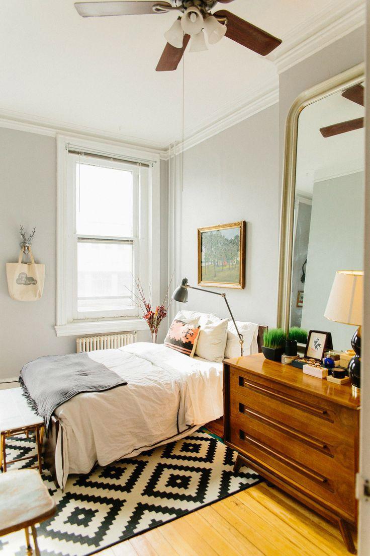 mid century modern small bedroom