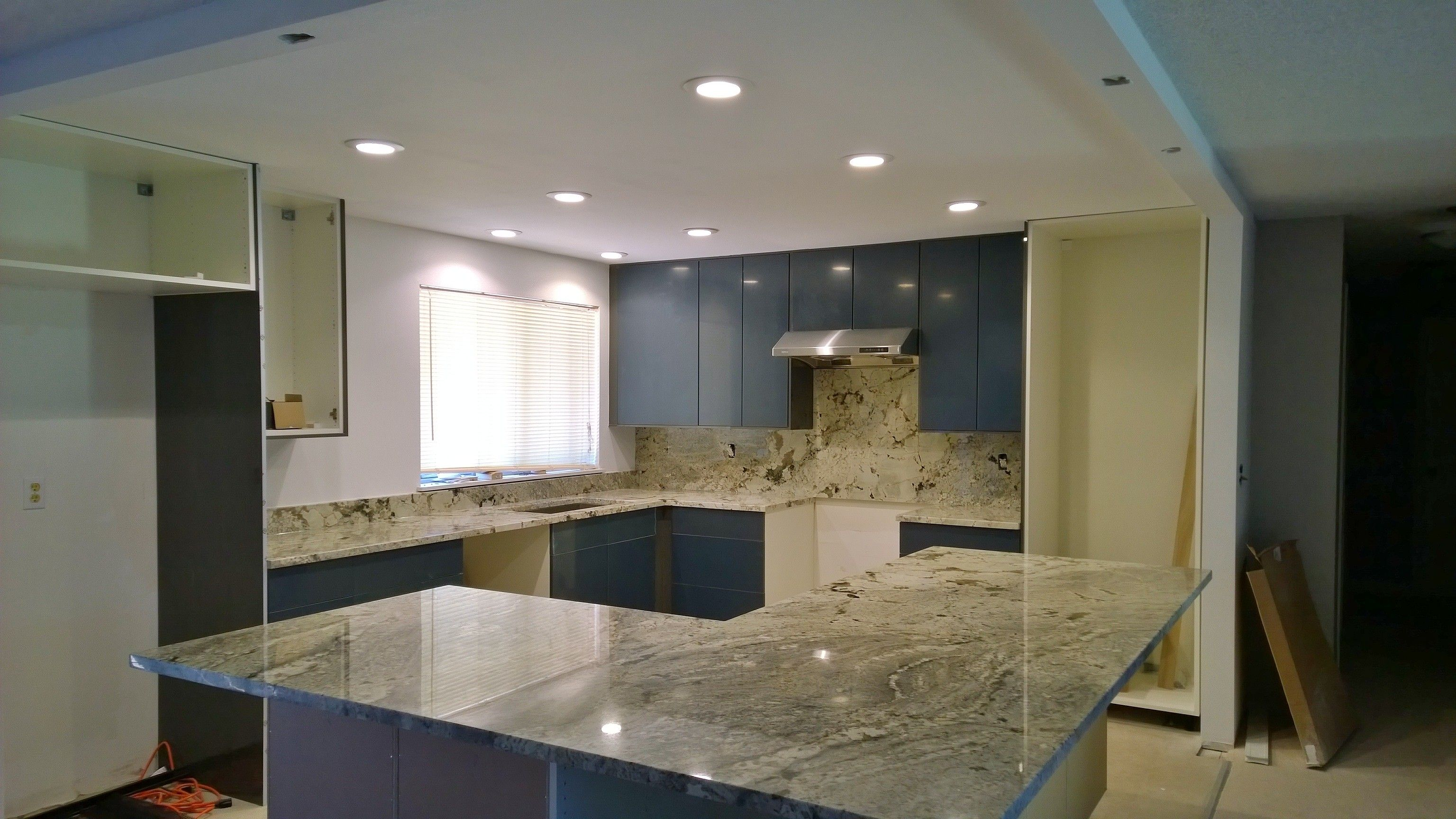 Snowstorm granite countertops. | Kitchen/Living/Dining Open ...