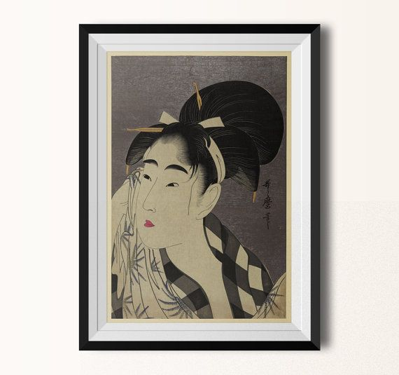 Japanese Wall Art Utamaro Vintage Inspired Illustration Etsy Japanese Wall Art Illustration Wall Art Art