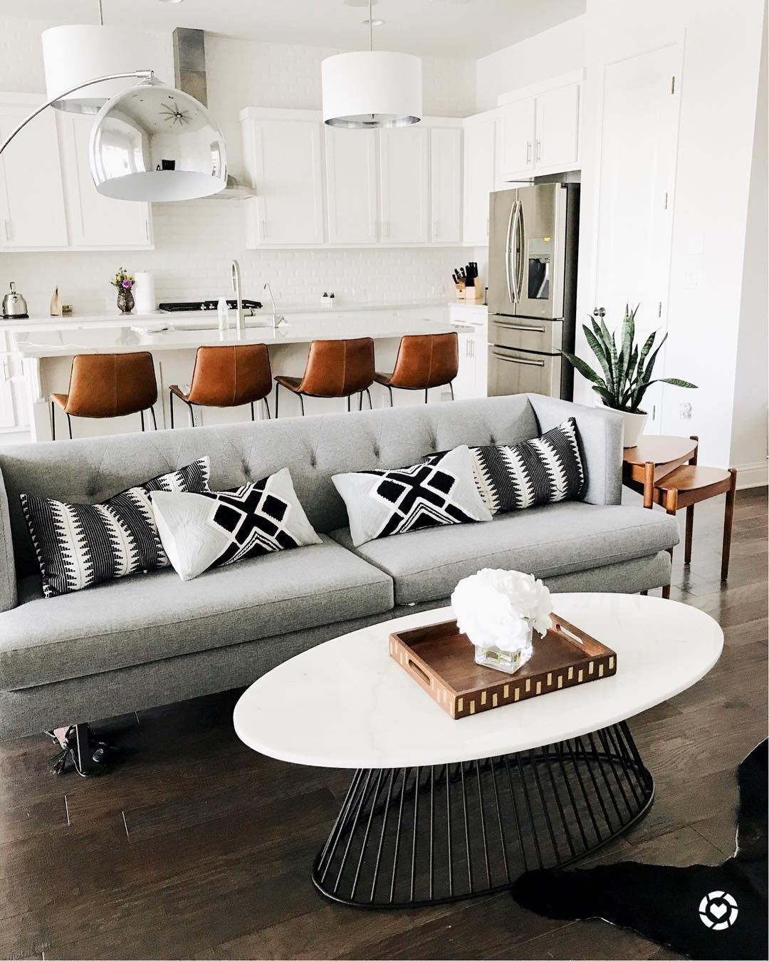 Love Love Love The Colors And Textures Grey Couch Black And White Accents Brown Black And White Living Room Apartment Living Room Design Living Room Grey