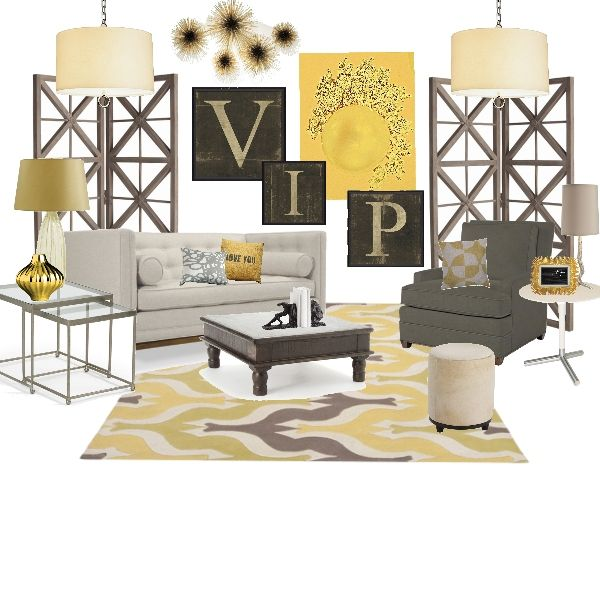 Virtual Interior Design Classic Grey And Yellow Living Room