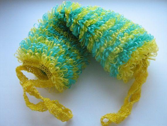 Вязание крючком мочалки рукавички с вытянутыми петлями