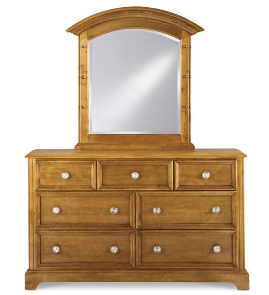 Bearrific Traditional Medium Brown Wood Glass Dresser and Mirror