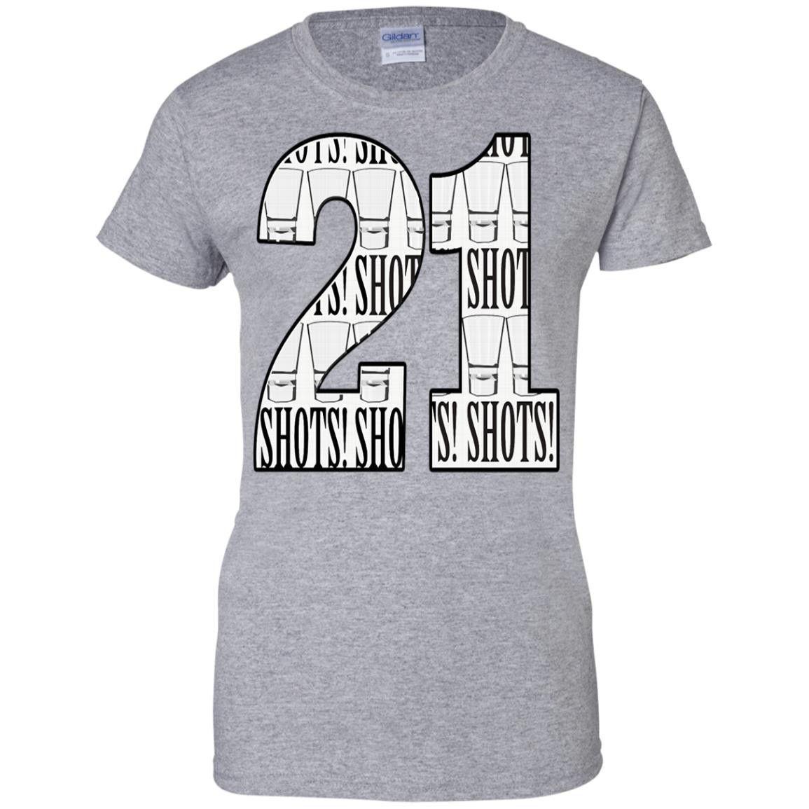 21 SHOTS WOMENS VNECK G200L Gildan Ladies' 100% Cotton T-Shirt
