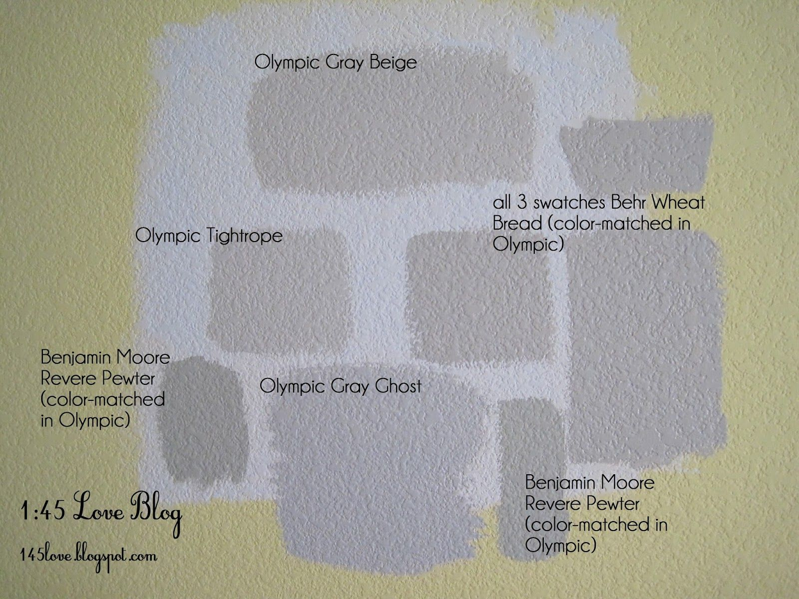 Greige Paint Wall Swatches Olympic Gray Beige Benjamin Moore Revere Pewter Ghost Rope Behr Wheat Bread