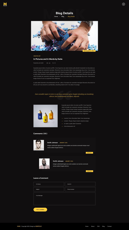 Mask Personal CV, Resume, Portfolio & vCard PSD Template