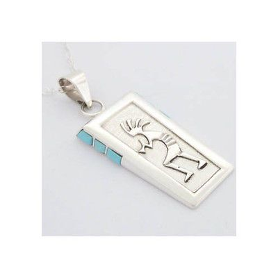 Kokopelli Necklace Turquoise Sterling Silver Navajo Native American Jewelry