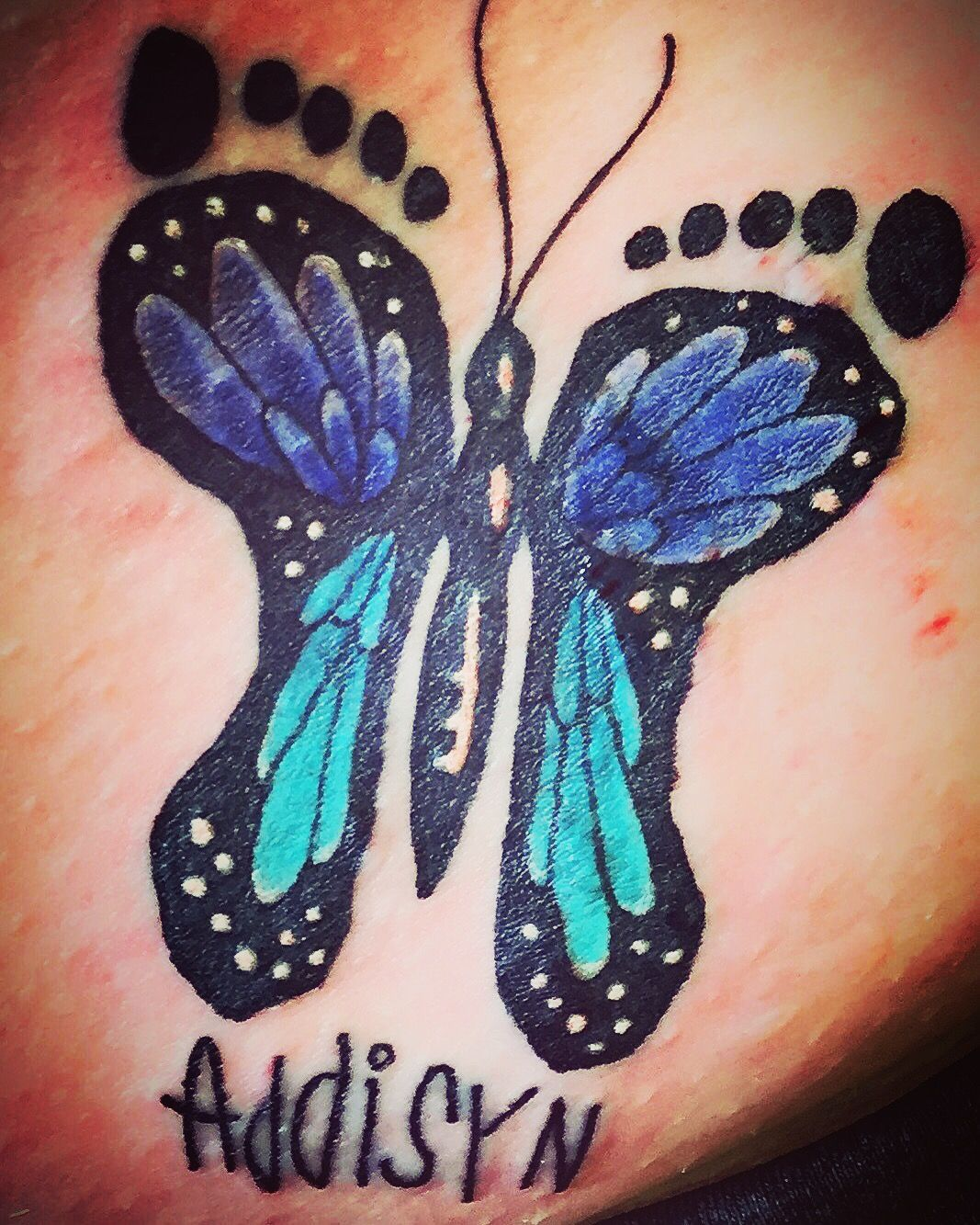 Butterfly Tattoo Using Daughters Signature And Footprints As Outline For Butterfly Butterfly Tattoo Butterfly Tattoo Designs Baby Tattoos