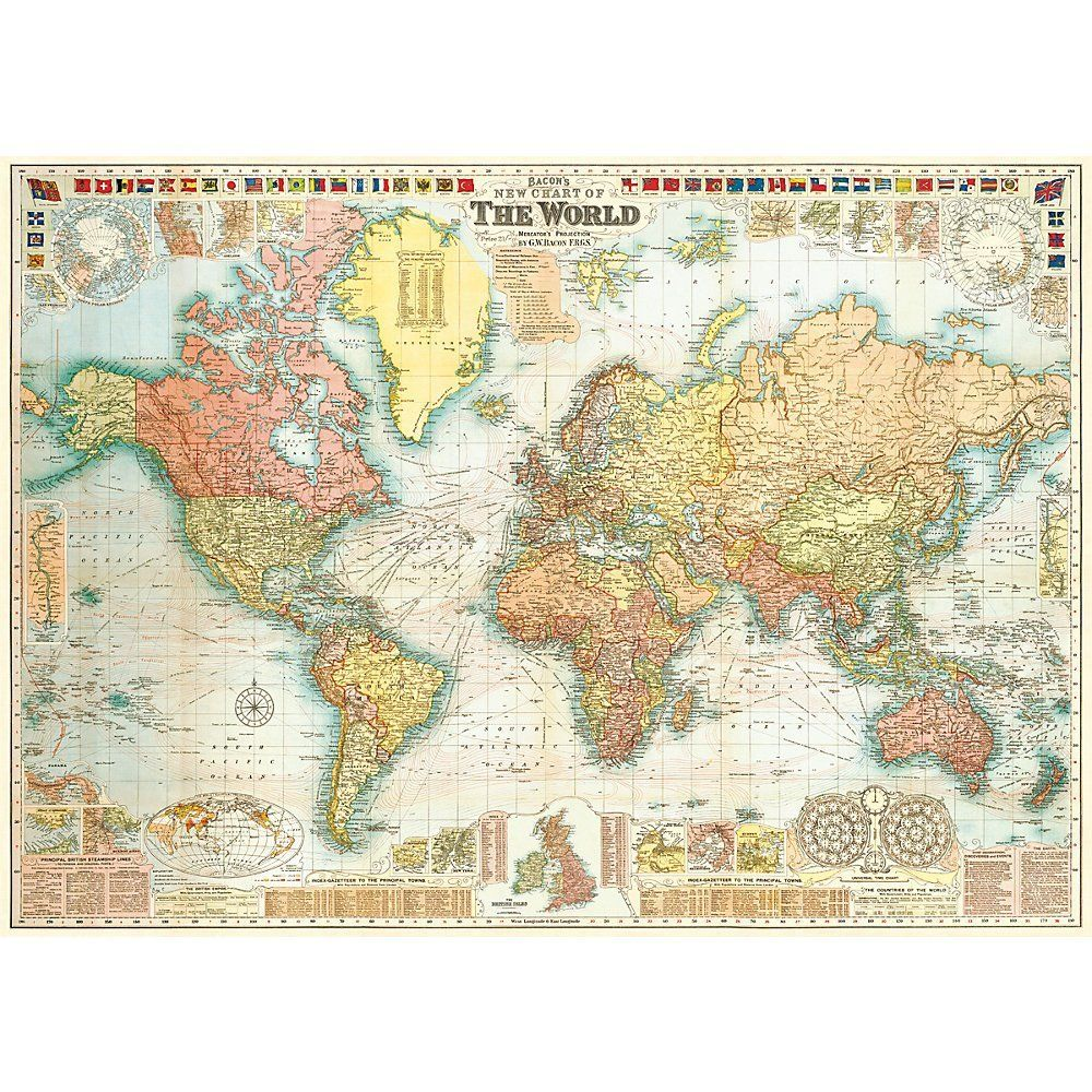 Amazon.com: Cavallini & Co. World Map Decorative Decoupage Poster ...