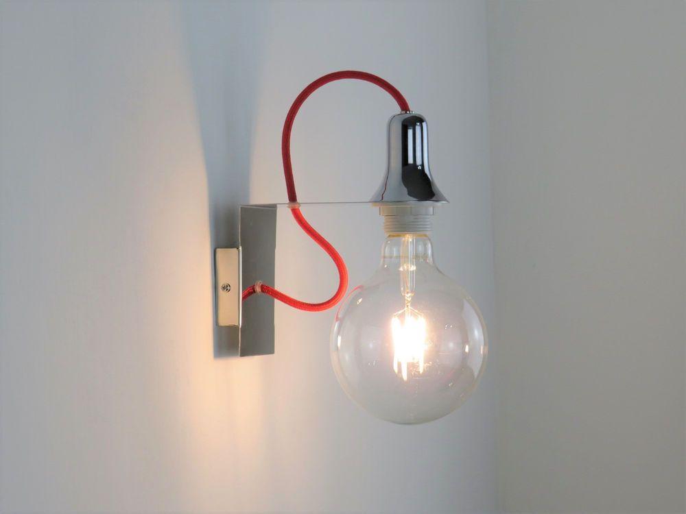 Lampada da parete applique moderno cromato lucido filo rosso