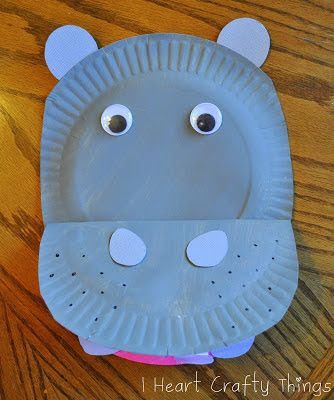Paper Plate Hippopotamus Craft & Paper Plate Hippopotamus | Hippopotamus Craft and Paper plate crafts