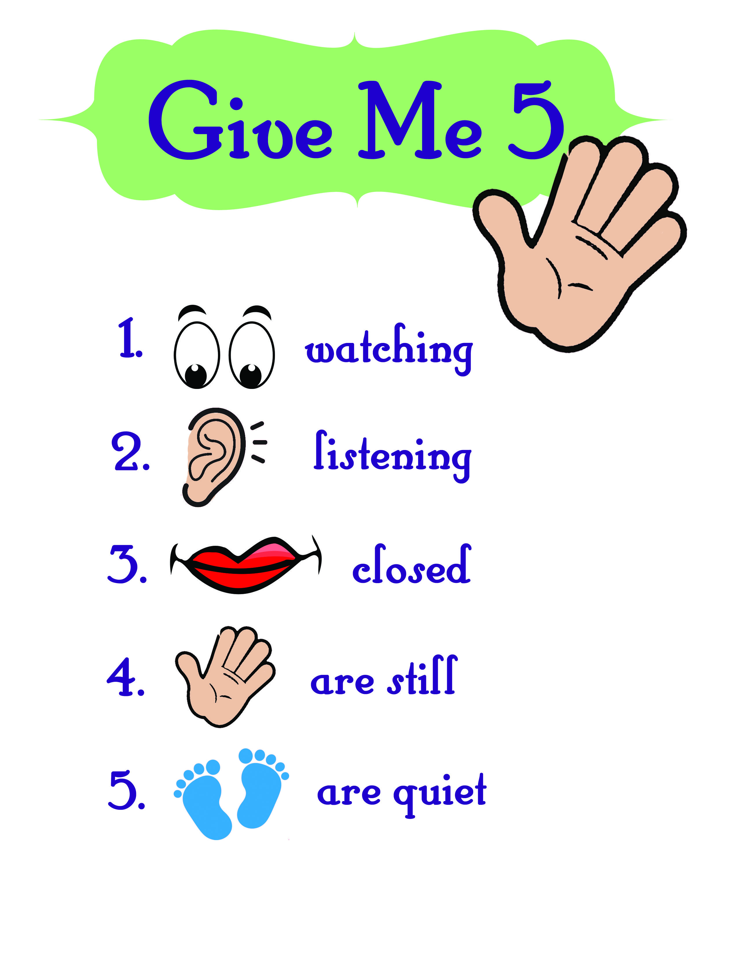 Give Me 5 Obe Nce Chart For Class Settings Or Group Teaching