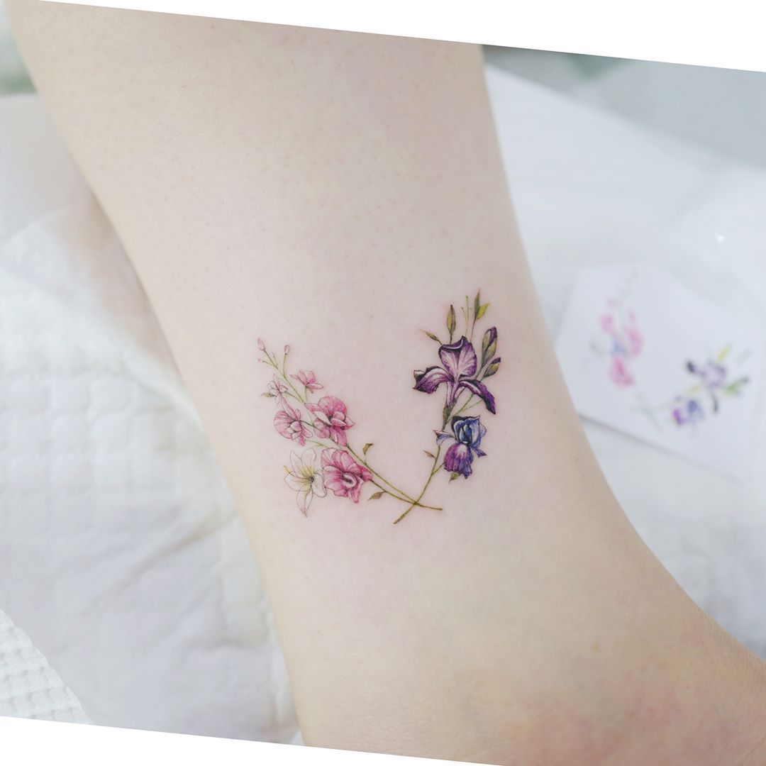 Watercolor Tattoos Korean Style Tattoos For Daughters Iris Tattoo Tattoos For Women