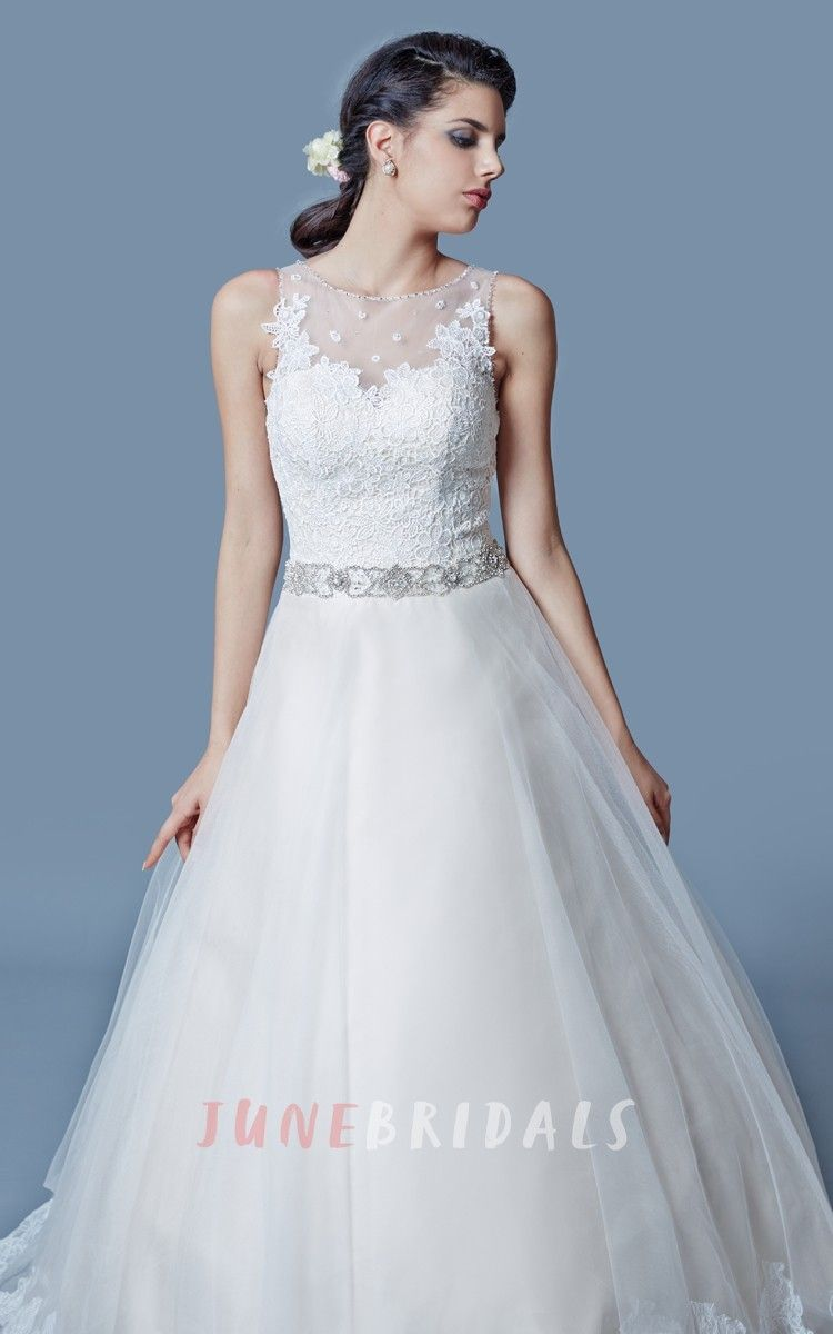 A line tulle wedding dress  Chic Lacetrimed Aline Tulle Gown With Laceappliqued Bodice and