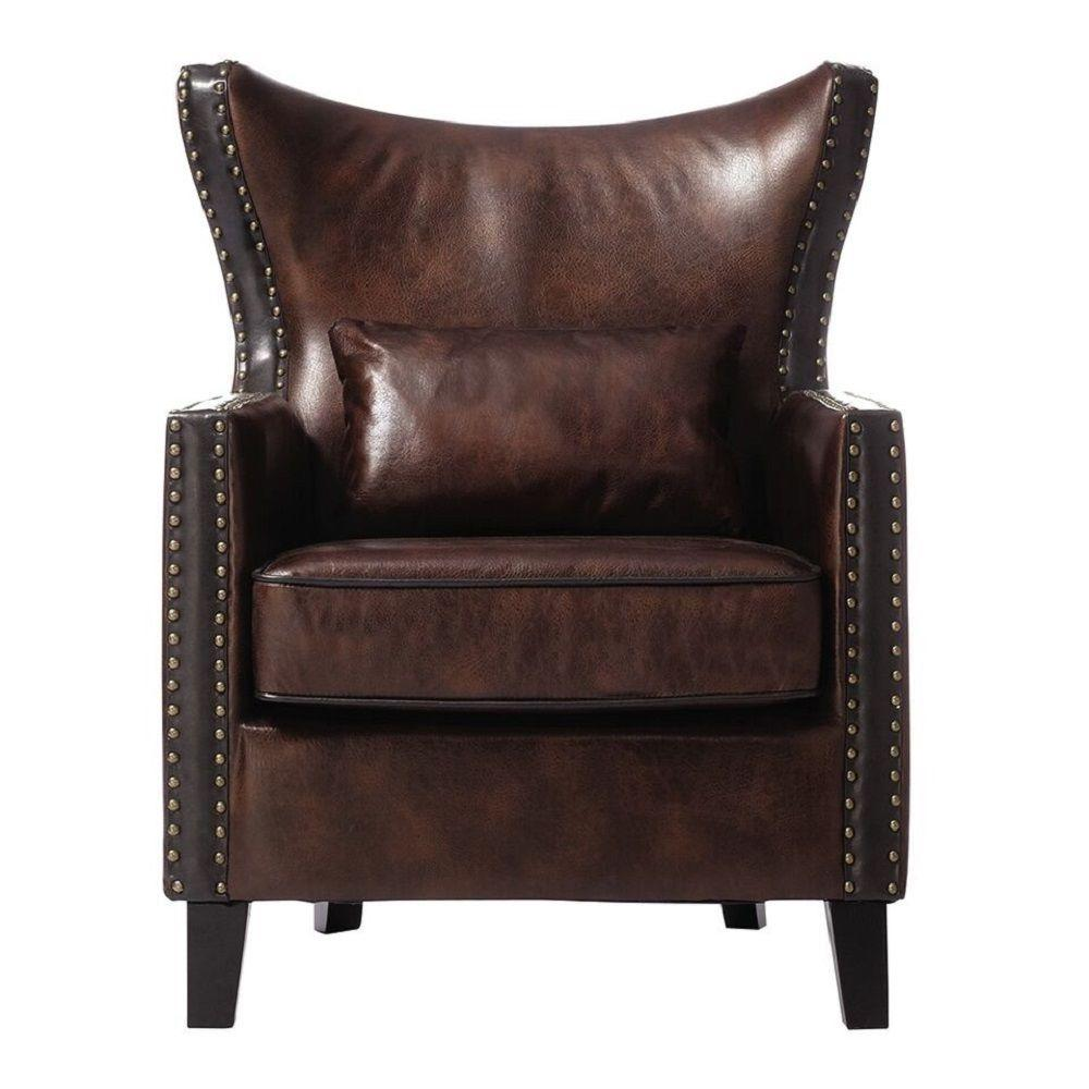 Home Decorators Collection Meloni Faux Suede Brown Bonded Leather Arm Chair 0284800740 The Depot