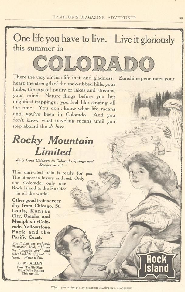 Rose illustrated many ads for the Rock Island Rail Road that were shown in magazines and newspapers such as Cosmopolitan and Scribner's.