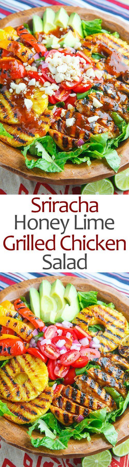 Sriracha Honey Lime Grilled Chicken and Pineapple Salad Recipe #honeylimechicken