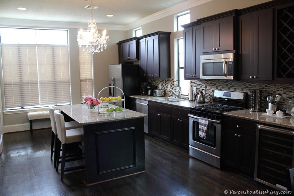 Swooning Over These Classic Black Cabinets Dark Wood Kitchen