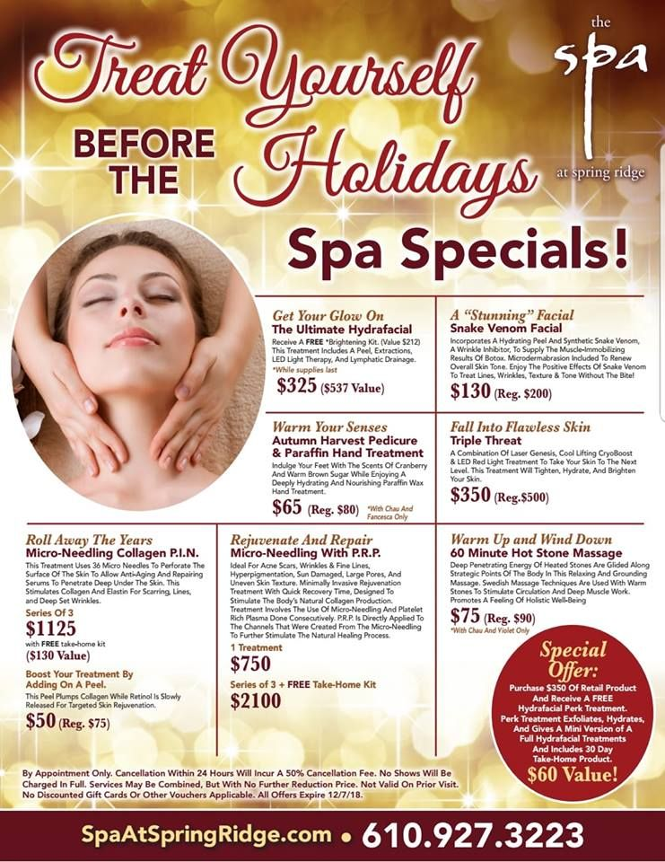 Holiday Spa At Spring Ridge Specials Medspa Wyomissing Spa Treatyourself Skincare Spaspecials Chris Spa Specials Med Spa Marketing Medical Spa Marketing