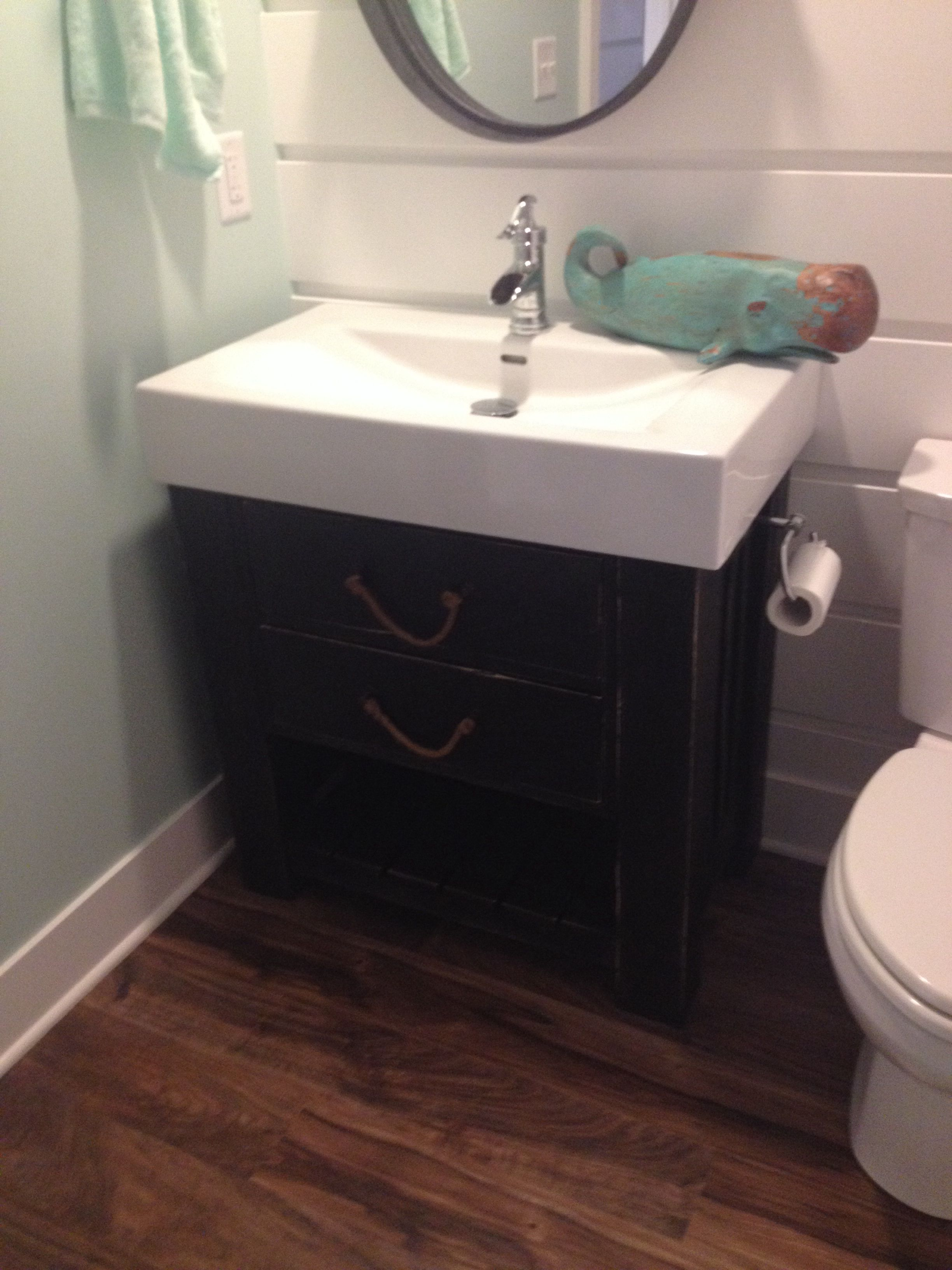 Rough sawn oak weather black vanity with anthropologie rope drawer ...