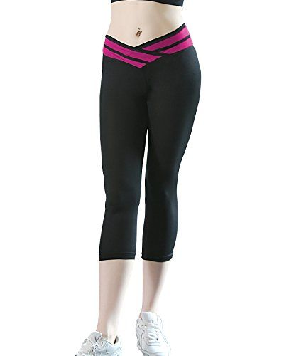 342af1e1cde1aa Women's Tights Capri Yoga Running Workout Leggings Pants (US 2-6, Pink)