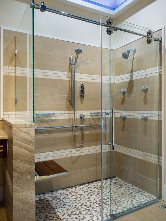 Frameless Sliding Shower Door Hardware With Return Panel Shower