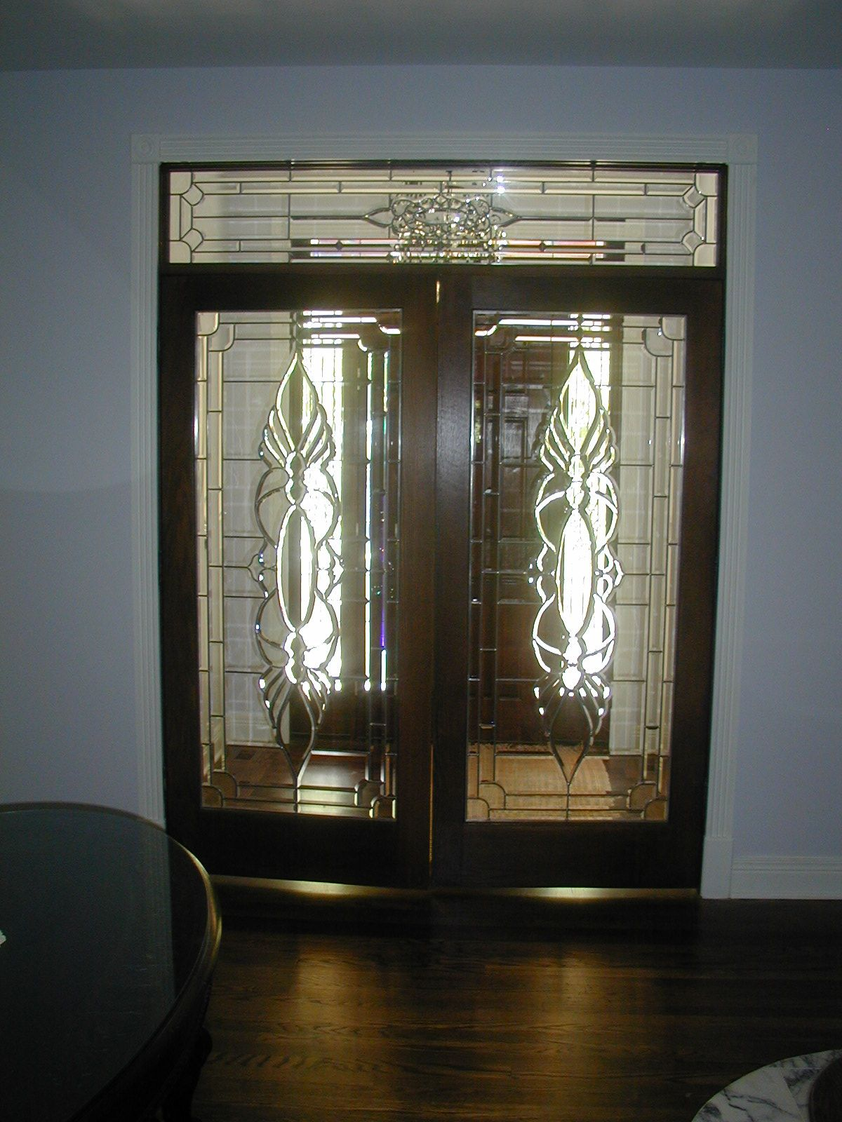 Custom Stained Glass Interior Doors Using Bevels And Clear Textured