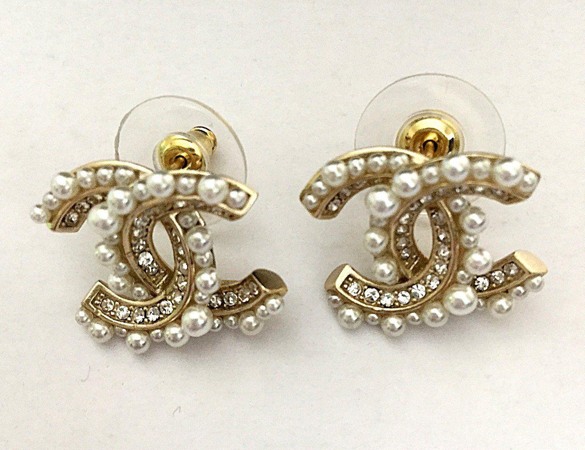 0194258e8 CHANEL+CC+Crystal+Pearl+Gold+Stud+Earrings+Medium+Size+Authentic+NIB ...