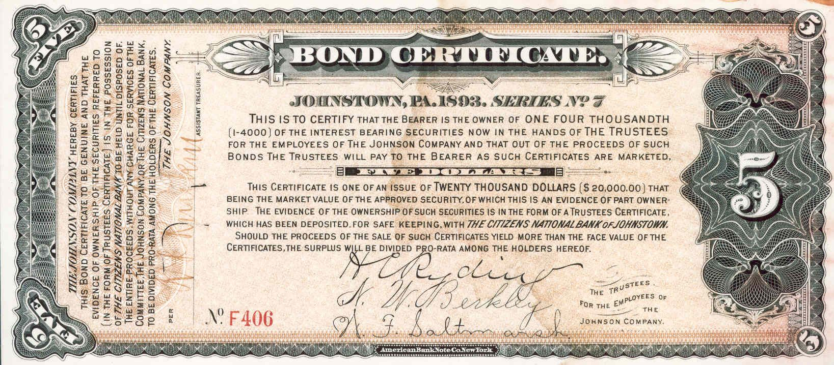 Old bond certificate example bonde