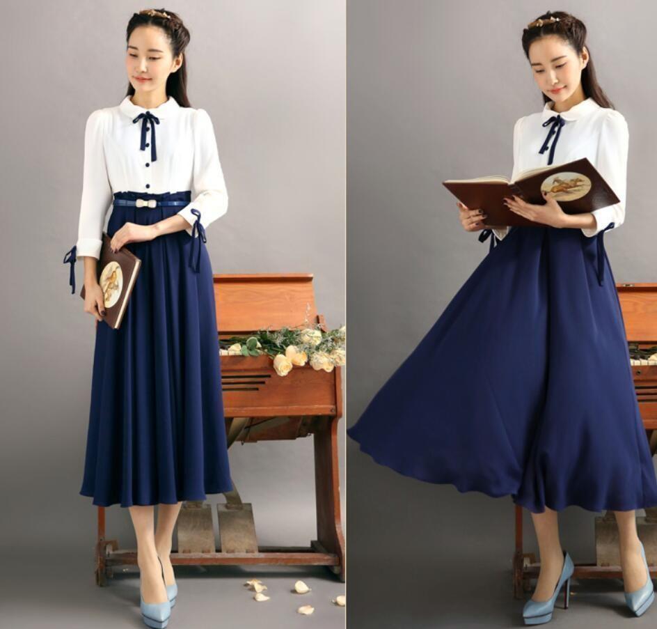 Women retro british big pendulum dress chiffon bowknot laceup dress