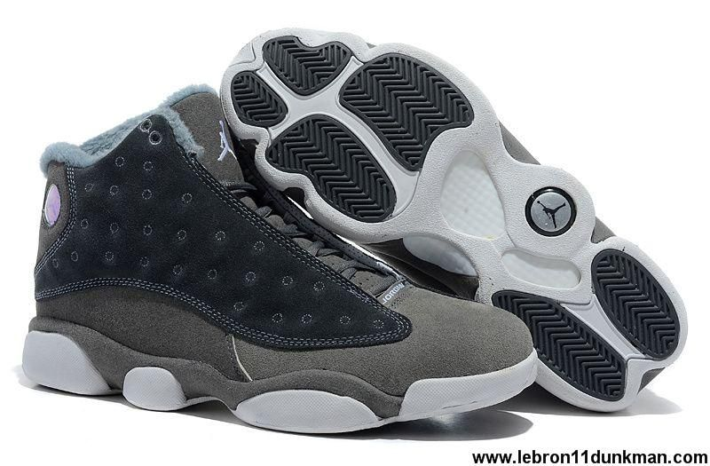 sports shoes 791c1 998db Sale Cheap Air Jordan 13 (XIII) Inside with fluff Grey White Basketball  Shoes Store