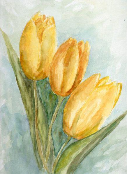 Drei Gelbe Tulpen Blumen Aquarell Blumen Malen Und Ostern Malen